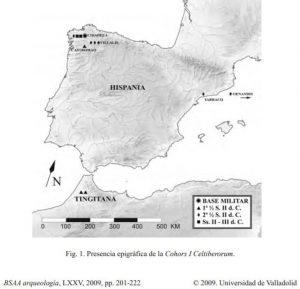 Mapa de presencia de la Cohors I Celtierorum en la Península Ibérica