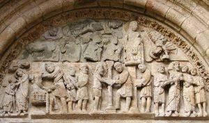 Escena Apresamiento de Jesús en Puerta de Platerías, Catedral de Santiago
