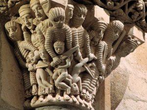 """Escena de """"Matanza de los Inocentes"""", en capitel de Santa Cecilia de Aguilar de Campoo"""