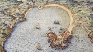 Grabado del puerto de A Coruña, siglo XVII