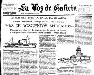 Noticia en la prensa de la época sobre el hundimiento del Santa Isabel