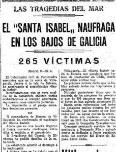 O afundimento do Santa Isabel. O misterio dá Costa da Morte Historia, Recuncho da historia